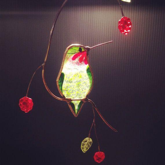Colibri avec baies vitrail suncatcher                              …