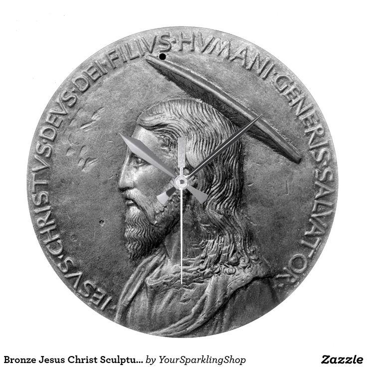 Silvered Bronze Look #Jesus Christ Sculpture Portrait Latin Text #ChristmasGiftIdeas #Clock