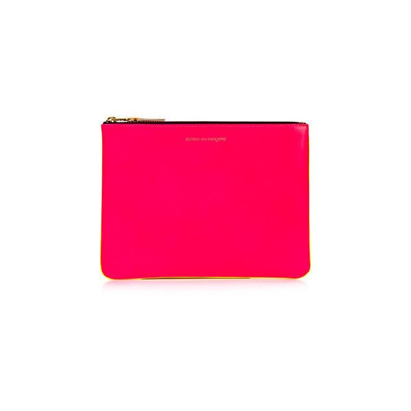 Comme des Garçons Neon Clutch (€100) ❤ liked on Polyvore featuring bags, handbags, clutches, pink, neon pink handbag, comme des garçons, neon clutches, neon purse and pink handbags