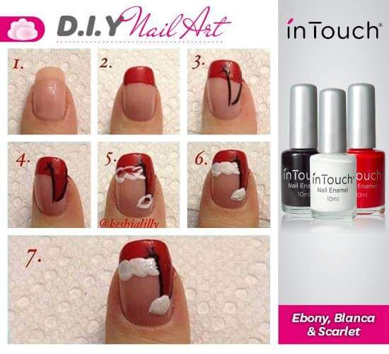 Lovely DIY Santa Hat Nail Art Tutorial