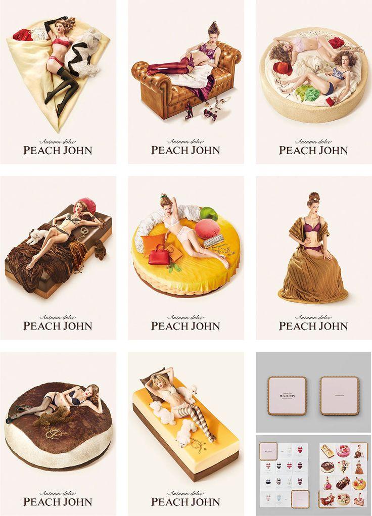 「Autumn dolce」をテーマに、PEACH JOHNの下着を身に着けて、部屋でくつろぐ女性を12個の美味しそうなドルチェに見立てました。ルックブックは本物のアイシングクッキーそっくりのデザインで、クリームのようにポスター型のビジュアルが挟まれています。