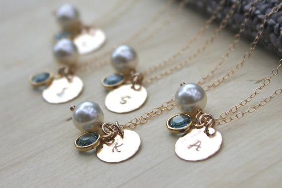 Bridesmaid gifts  Set of 5  Textured Hand Stamped by ForMebyAnnA, $171.00