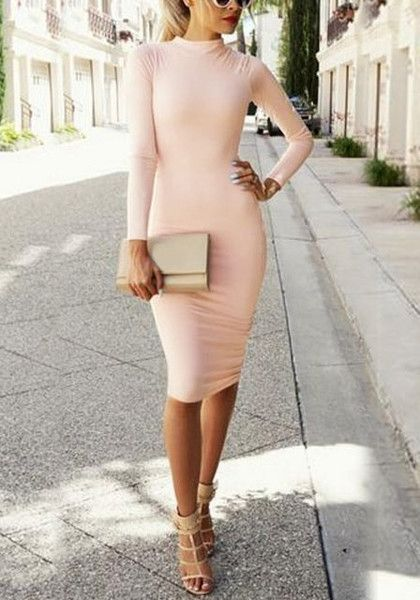 This light pink bodycon midi dress features a mock neckline and long sleeve detailing for a warmer yet sexy feel. | Lookbook Store
