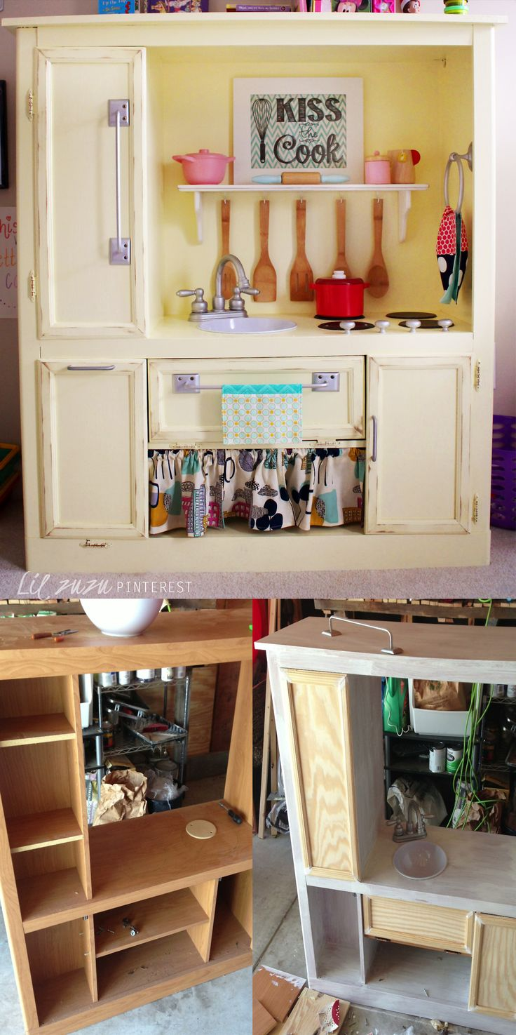 DIY PLAY KITCHEN From Entertainment Center   Found The Cabinet Off  Craigslist For $20. Built