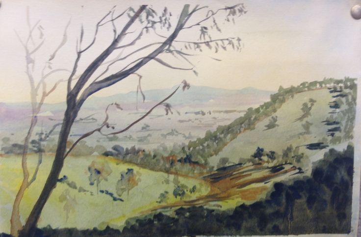 Landscape in watercolour .