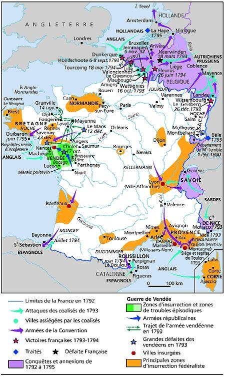 Carte des soulèvements populaires pendant la Révolution française