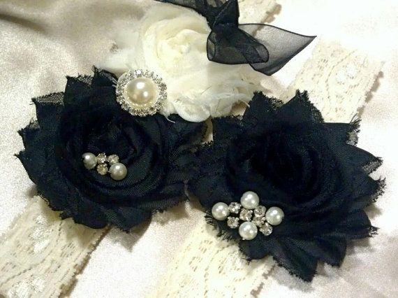 Items Similar To Bridal Garter Set Wedding Shabby Chic Black And Ivory Lace Garters On Etsy