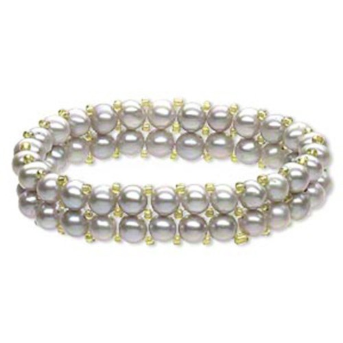Double Row Silver Freshwater Potato Pearl Stretch Bracelet Olive Green Accents