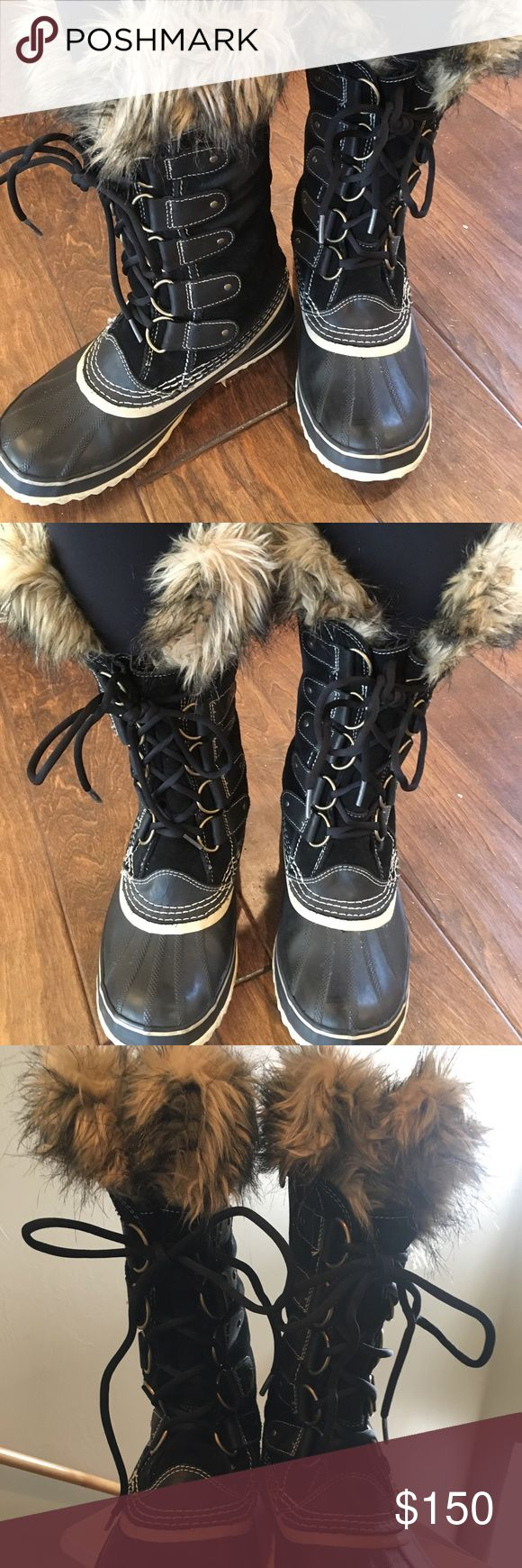 Black Sorel Snow Boots Black Sorel Snow Boots with Fur. Like New! Sorel Shoes Winter & Rain Boots