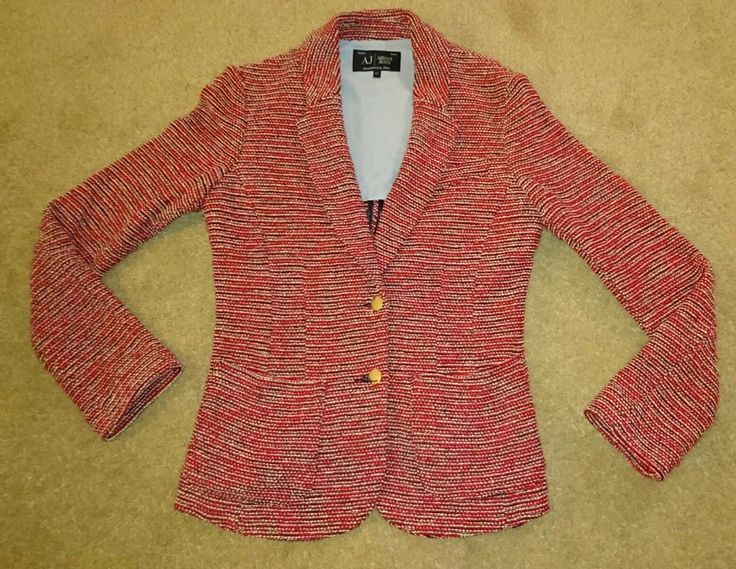 Armani Jeans womens blazer jacket    Navy / red / white boucle style    Lovely tailored jacket, shoulder lined with pale blue cotton    Armani buttons, small gold collar detail & cotton logo to side seam (all pictured)    Size 44 (a 12, I think!)     48 cms across the back from armpit seams     58 cms long (down the back from neck seam to hem)     In new condition, without tags  | eBay!