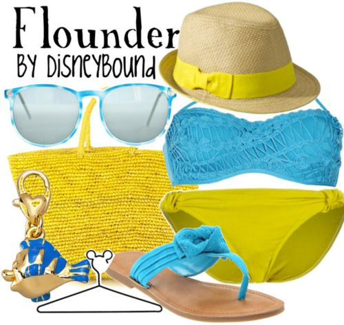 DisneyBound... swimwear inspired by The little Mermaids....Flounder!