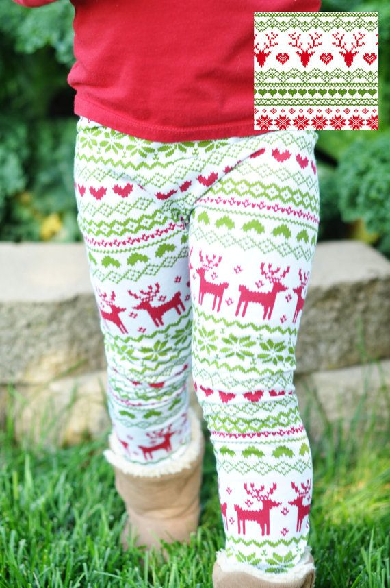 **This fabric has changed slightly. Please see last photo.** Trendy leggings in a cute Christmas reindeer sweater print made from super soft