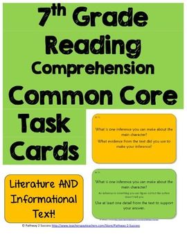 7th Grade Reading Comprehension Common Core Task Cards - 1