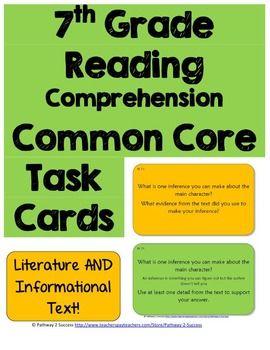7th Grade Reading Comprehension Common Core Task Cards - 1
