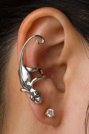 gecko: Piercings Ears, Silver, Styles, Jewelry, Accessories, Lizards, Geckos Ears, Earrings, Ears Cuffs