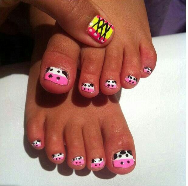 Kids Nail Art; Cute Little Cows On Precious Feet. But A Peek On The