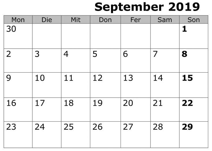 Kalender Stile September 2019 Zum Ausdrucken | September ...
