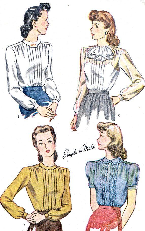 années 1940 Womens Blouse modèle simplicité 4556 par paneenjerez