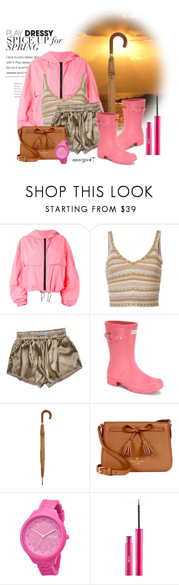 """""""letni deszcz"""" by margo47 ❤ liked on Polyvore featuring MSGM, Alice + Olivia, Hunter, London Undercover, Kate Spade, Rip Curl and Sigma"""