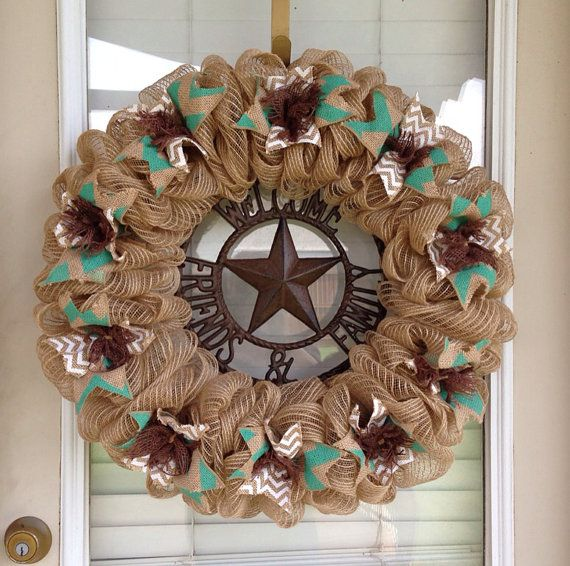 Burlap Wreath Natural, Brown Turquoise and White Chevron Ribbon Western Wreath