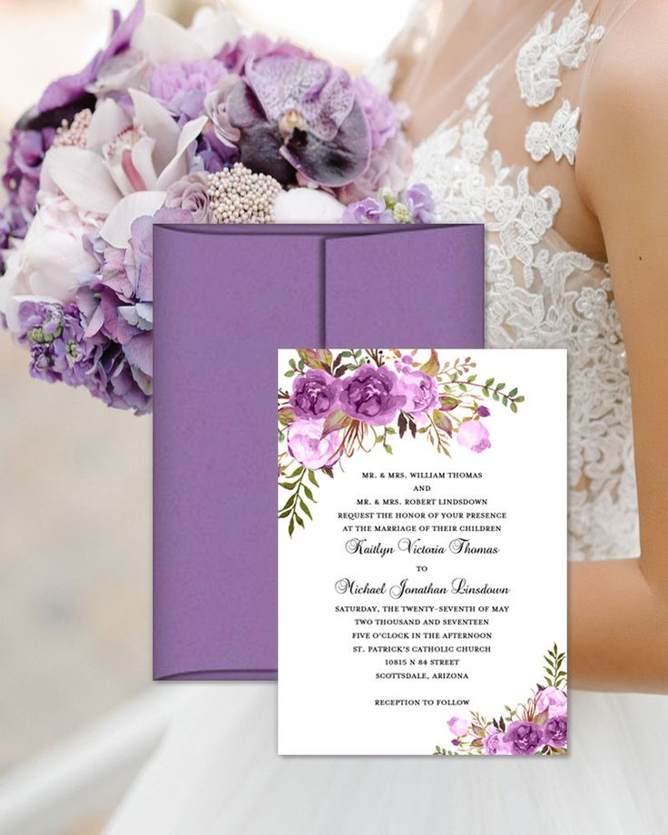 sunflower wedding invitations printable%0A Printable Wedding Invitation Romantic Blossoms Purple Lavender Lilac