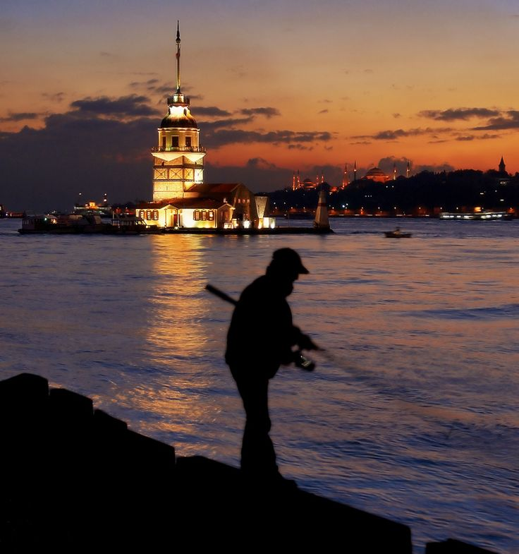 Fisherman at The Maiden Tower - , Istanbul