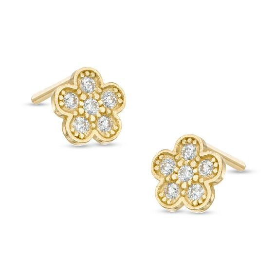Child S Cubic Zirconia Flower Stud Earrings In 10k Gold Stud Earrings Fashion Earrings Gold