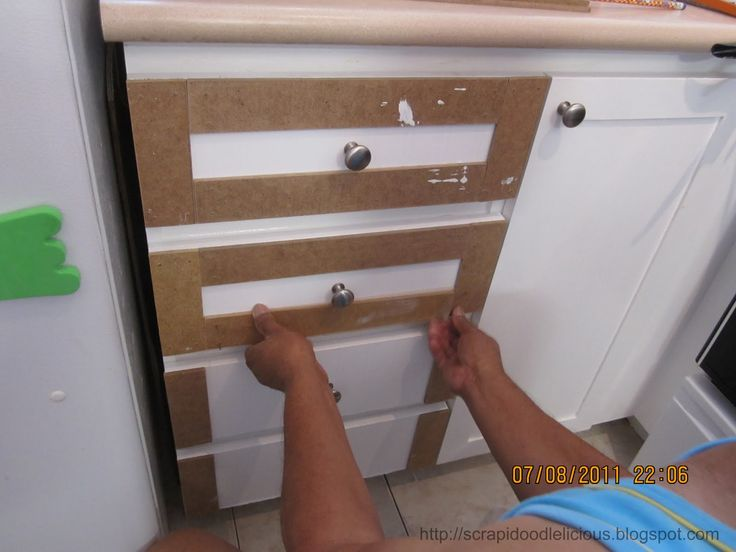 Here's how I did to transform my kitchen cabinets.       First remove all the cabinet doors then measure and cut the beadboard wallpaper . ...