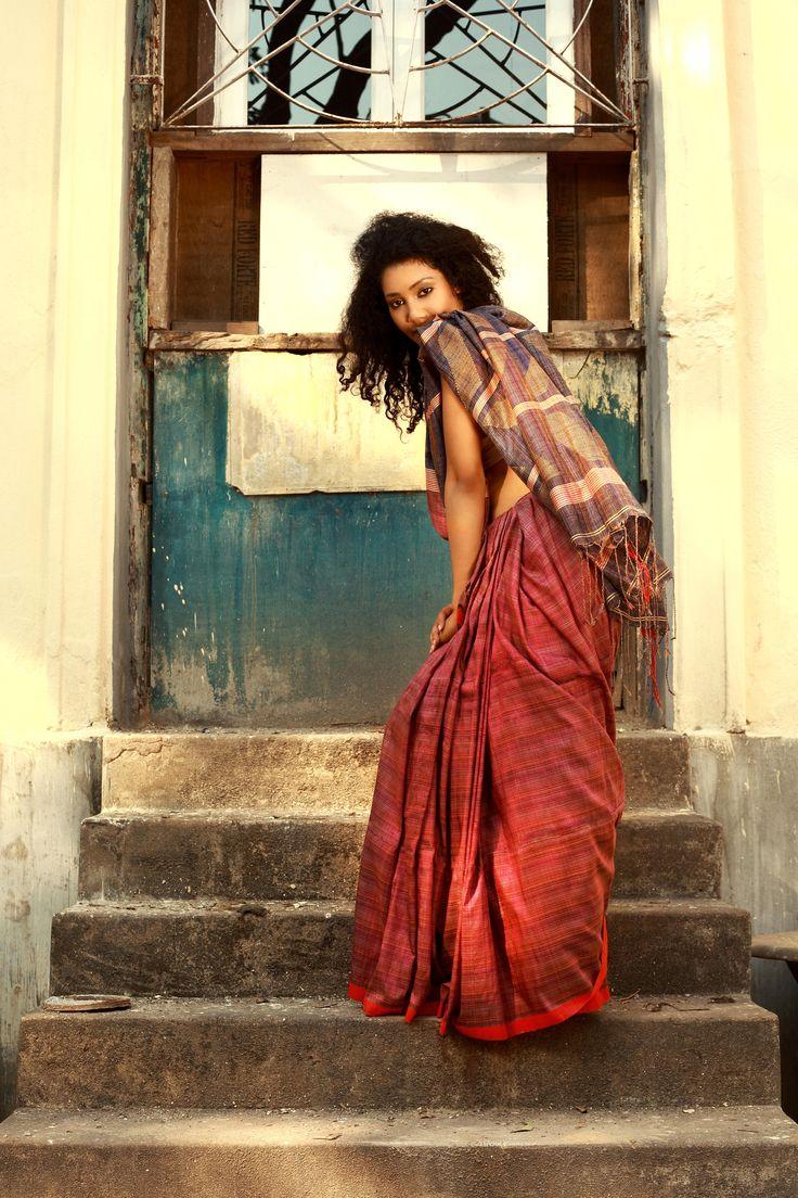 Rust coloured cotton Fulia sari