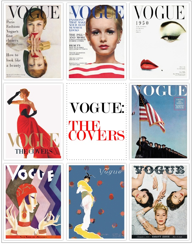 Addison's art above bed; collage of old Vogue covers to match bed set