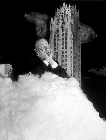 """Alfred Hitchcock on the set of """"Rope."""" 1948 Warner Bros."""