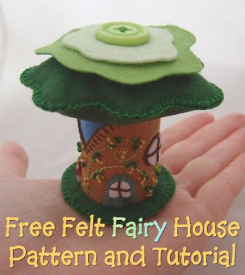 Free felt fairy tree house printable pattern and full photo craft tutorial from craftymarie.com