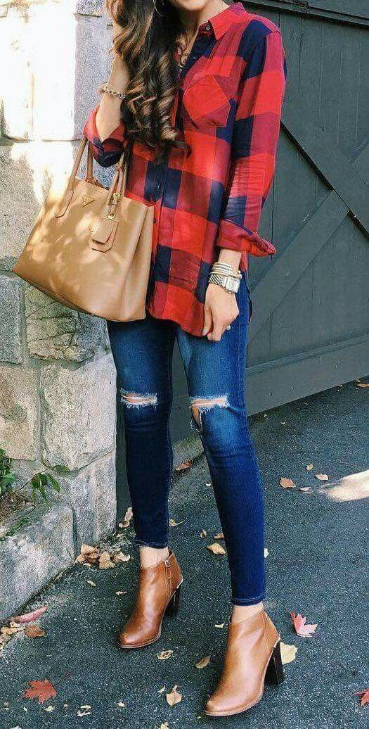 cute fall outfit skinnies booties and flannel