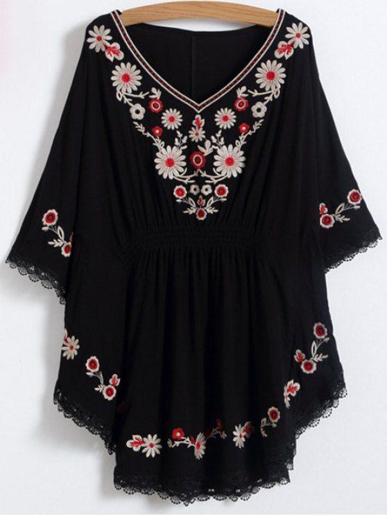 Floral Embroidered Kaftan Top - BLACK ONE SIZE