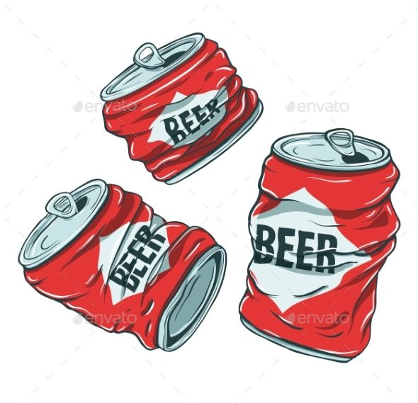 Beer Cans On White Beer Drawing Beer Cartoon Canning