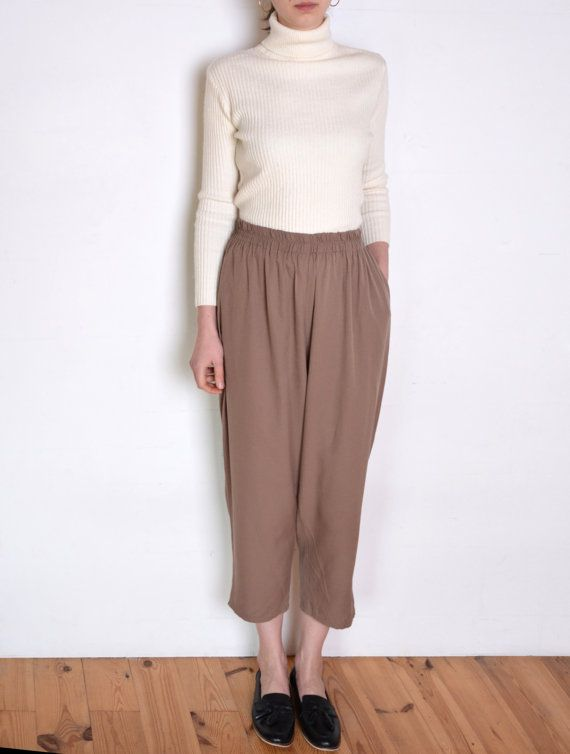 90's French cropped pants beige wide leg by WoodhouseStudios