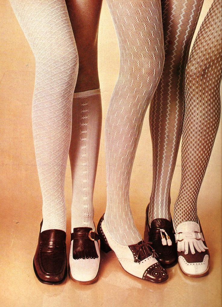 1960's shoes and tights made a comeback in the 90s. I remember the comments about the 'net curtain' tights!