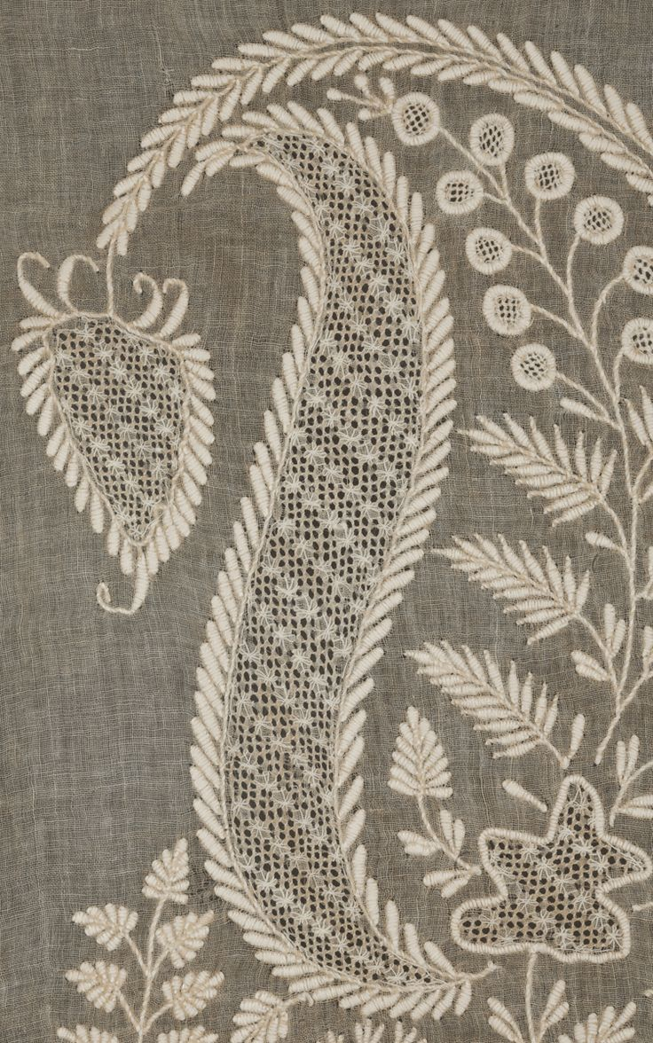 Lucknow Chikan Shawl (detail) ~ This Chikan work shawl from Lucknow in India was made for the export market and has an illustrious provenance, the Brown family of Rhode Island. ~ Late 18th/ early 19th century ~ 85 x 286 cms (33½ x 112½ ins) ~ Cotton, worked on a light tan ground, possibly a natural coloured cotton with embroidery of open and pulled work, satin stitch, running stitch ~ Marcuson and Hall Textiles