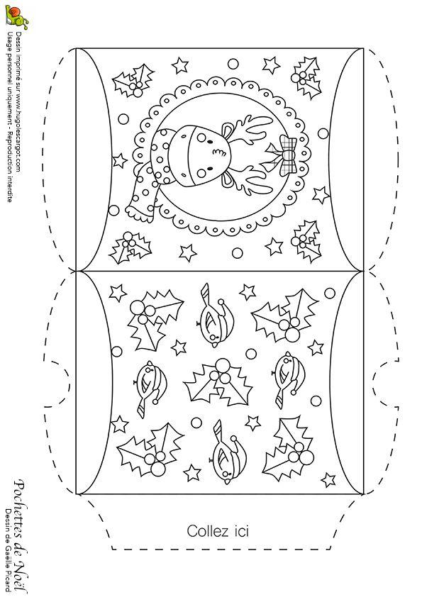 Coloriage de la pochette de noël dévorée avec les rennes et les guis