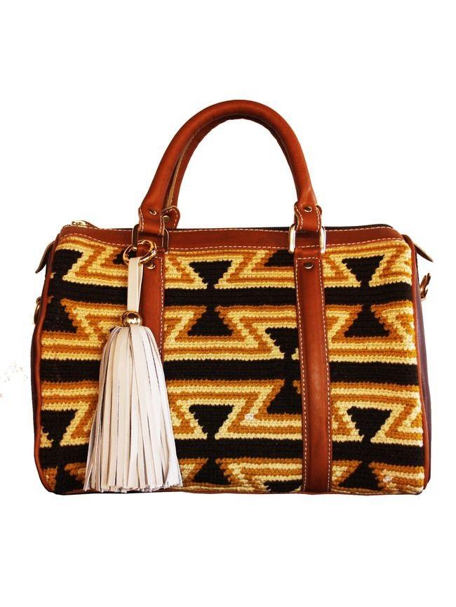 Artisan crafted handbag, woven tribal Wayuu print fabric, tassel detail and adjustable shoulder strap
