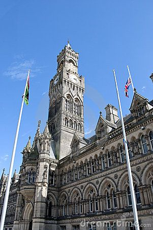 Stock Photo: The City Hall and Belltower of Bradford an English City