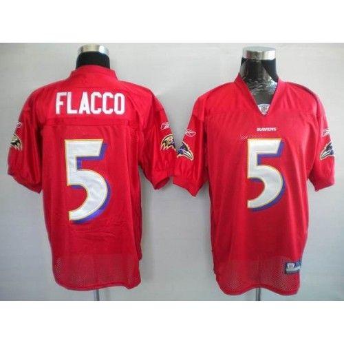... Reebok Baltimore Ravens 5 Joe Flacco Red Practice Stitched NFL Jersey  ... f01e6c7ce