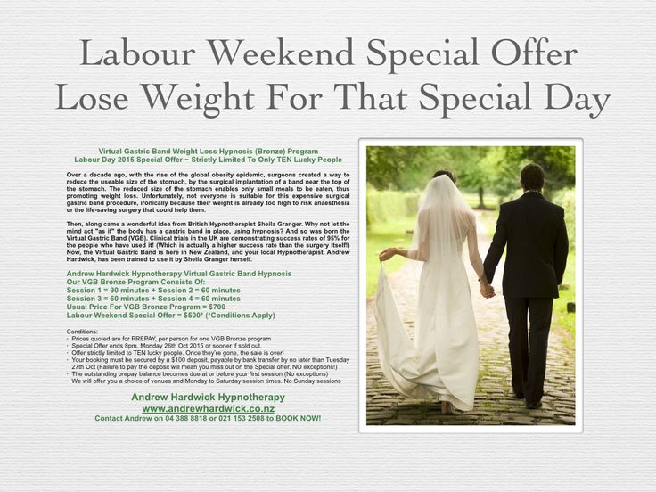 NZ Labour Weekend 2015 Special Offer Virtual Gastric Band Program
