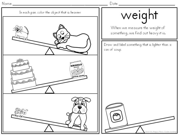 Measurement For Kindergarten 1st Grade Math Worksheets Math Measurement Measurement Kindergarten
