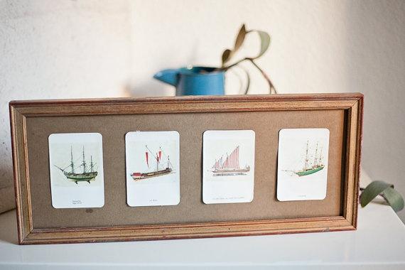 Vintage frame with design of old boats.