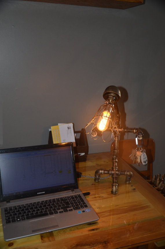 sold Steam Punk Desk Lamp by Woodchoppersfurnitur on Etsy view it at www.woodchopperrepurposedfurniture.weebly.com