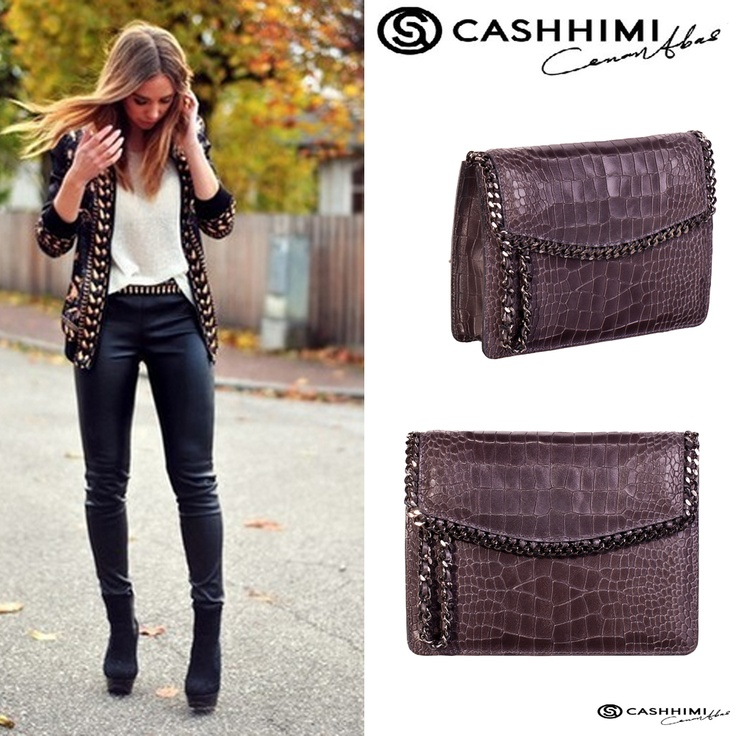 Cashhimi Brown Barrow Leather Clutch