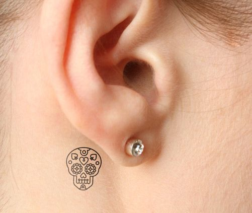 Tiny Little Sugar Skull Tattoo for Women