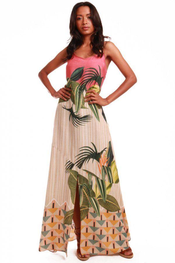 09c8d91c07 Vestido longo com estampa exclusiva Munny Maxi Folhas. Modelo de tecido  leve