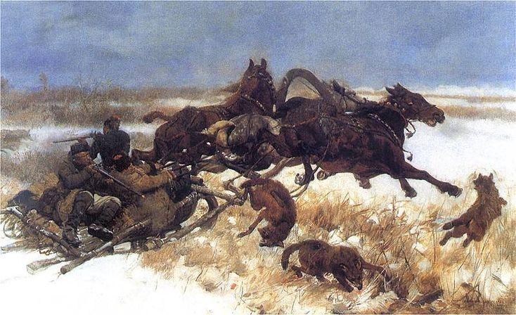 Józef Chełmoński - Napad wilków, 1883